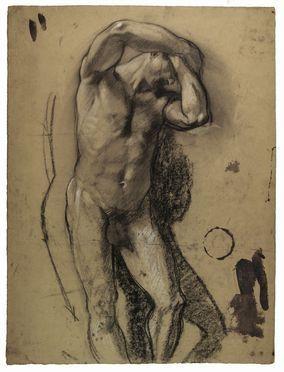 Armando Spadini  (Firenze, 1883 - Roma, 1925) : Studio accademico per un nudo virile.  - Asta Stampe, disegni, carte geografiche e vedute - Libreria Antiquaria Gonnelli - Casa d'Aste - Gonnelli Casa d'Aste