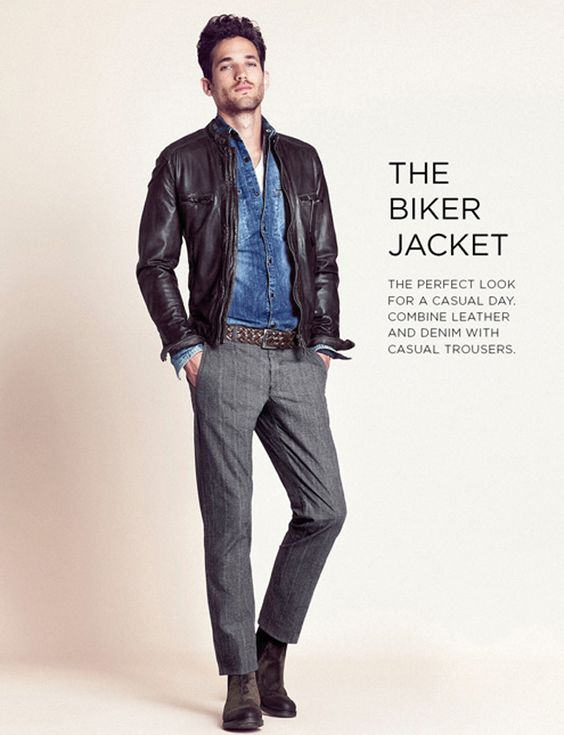 Men's Fashion: Black Leather Jacket, Denim Shirt & Grey Pants ...