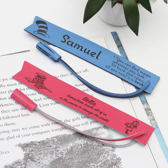 Super sweet and very useful leather bookmark personalised with your special words to create a thoughtful bespoke gift for a special little bookworm The perfect gift Choose your favourite literary saying and we will personalise the bookmark with the name of the lucky recipient. Available in lots of gorgeous colours , these leather bookmarks make a treasured gift. FREE DELIVERY FREE GIFT PACKAGING FREE PERSONALISATION Please contact us via 'Ask the seller a question' if you would like help with yo