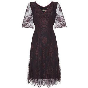 Cathleen Dress In Garnet Lace - view all sale items