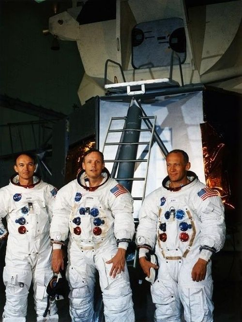 Apollo 11 astronauts Mike Collins, Neil Armstrong and Buzz Aldrin at Kennedy Space Center less than a month prior to the July 1969 launch.