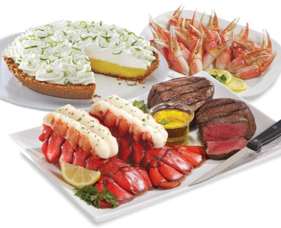 SEASONAL SPECIAL: Dads Delicious Deal for Two : $152.95 ; (for Four : $249.95)Two LARGE 10-12 oz. Maine Lobster Tails Two 6 oz. Filet Mignon Steaks One lb. Snow Crab Claws One 42 oz. Key Lime Pie FREE Clarified Butter Informational Packet (includes: Preparation Instruction & Recipe Booklet)