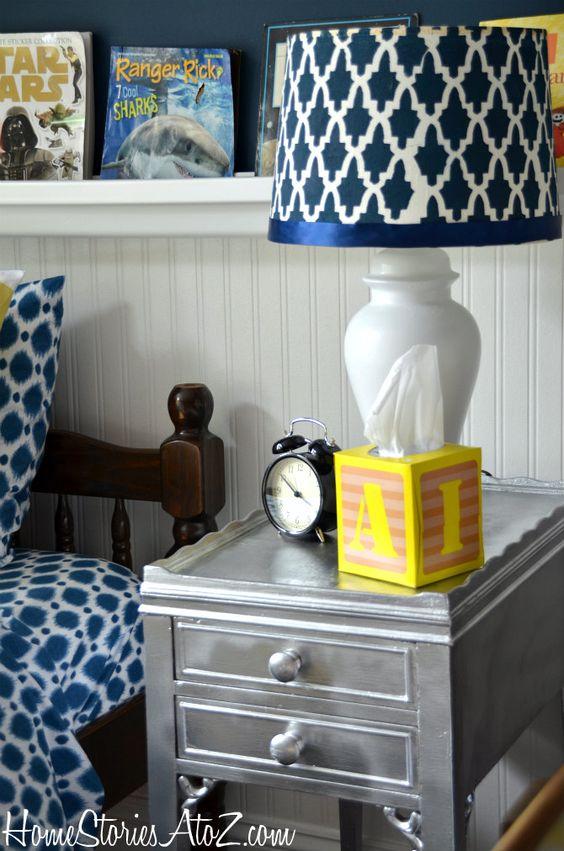 DIY stenciled lampshade.
