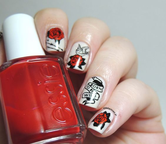 Marine Loves Polish: Rock in Blue pour un Jo-yeux anniversaire !  Stamping Nail Art,  tattoo / red roses / Born to be Wild, Ed Hardy look