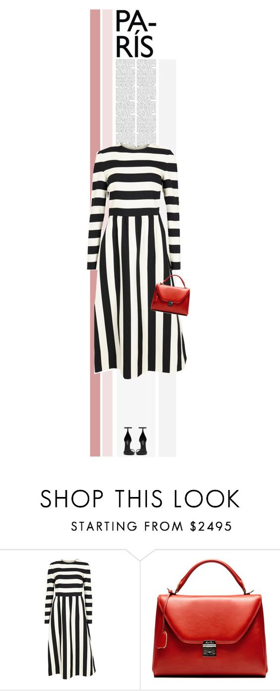 """Outfit"" by poison-iivy ❤ liked on Polyvore featuring Valentino, Mark Cross, Yves Saint Laurent, women's clothing, women, female, woman, misses, juniors and stripes"