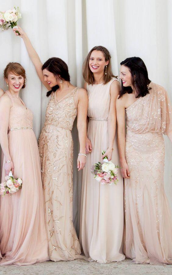 Nude / Blush bridesmaid Dresses: fabmood.com