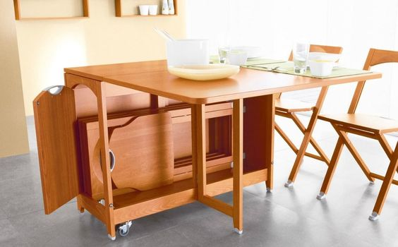 Olivia gateleg table with chair storage folds down to
