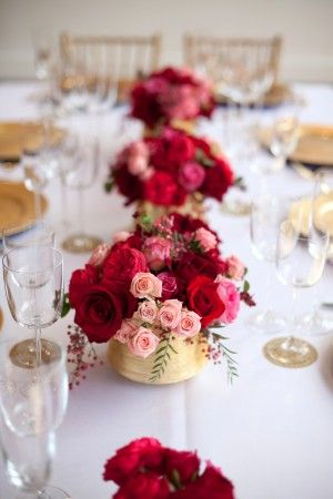 Pink Red Gold Wedding Table Ideas!! I hate when I go to weddings and everyone's food is so close together because their flowers are in the way! I LOVE this because the flowers are so pretty but so small :):