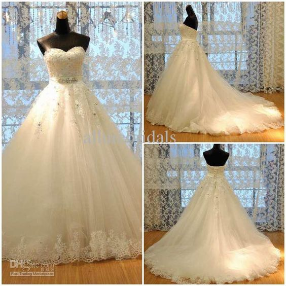 Wholesale High quality sweetheart garden wedding dresses A-line lace church bridal dress laciness applique beads Tulle A-line Sheer Weddiing Dress, Free shipping, $160.32/Piece | DHgate