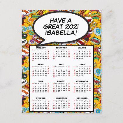 Comic Book Pop Art Speech Bubble 2021 Calendar Holiday Postcard