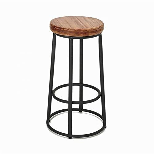 Aglzwy Bar Stool High Chair Vintage Cafe Home Round Breakfast