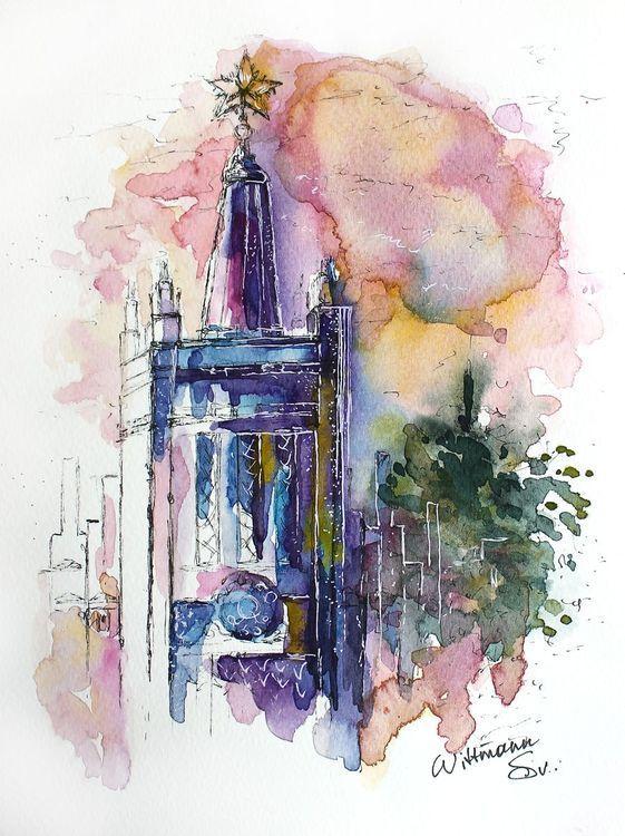 Aquarelle Urban Sketch On Paper Watercolor Painting 18x24 Cm