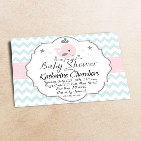 Whale baby shower invitation girls baby shower от LittlePartyPaper