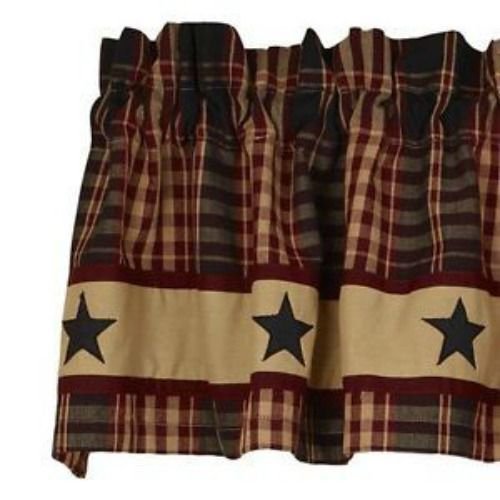 New Primitive Country Village Black Star Valance Curtain Burgundy Tan Plaid Country Shabby Chic Kitchen Curtains Country Valances Primitive Decorating Country