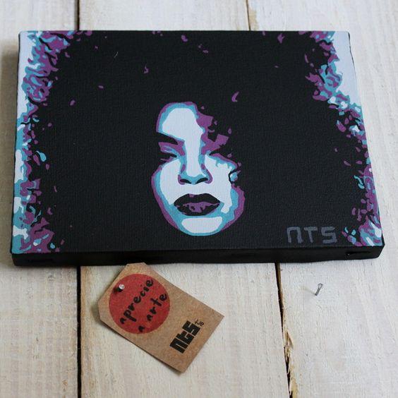 Quadro Beleza Black. Inspirado na beleza negra. Inpiração blogueira Maria Julia. Tela tecido artístico 100% algodão com pintura em tinta acrílica, técnica de stencil.  #art #stencil #quadro #NTSart #artistic