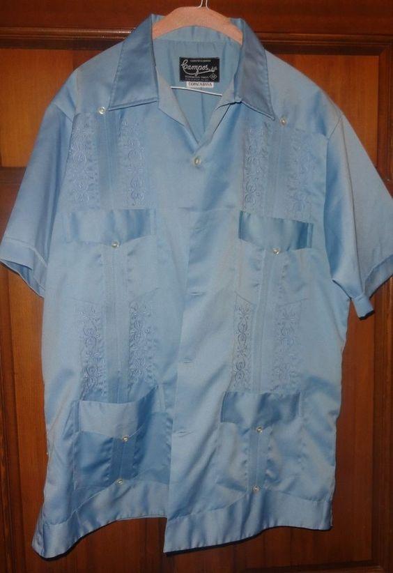 baby blue embroidered copacabana satin mexican wedding shirt mens l 42