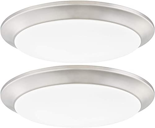 New Gruenlich Led Flush Mount Ceiling Lighting Fixture 11 Inch Dimmable 19w 125w Replacement 1170 Lumen Metal Housing Etl Damp Location Rated 2 Pack Nickel Finish 5000k Online Led Flush Mount Ceiling Light
