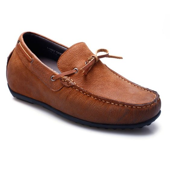 Earth brown increase height soft driving shoes for men