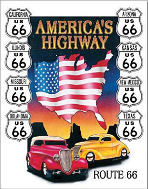 Americas Highway: Route 66 Metal Sign-Historic Rail