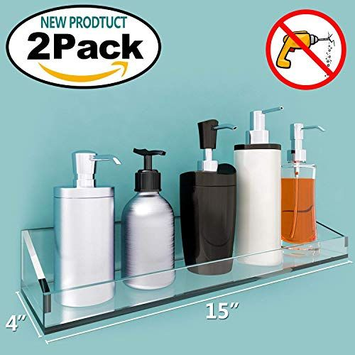 Vdomus Acrylic Bathroom Shelves Wall Mounted Non Drilling Thick Clear Storage /&