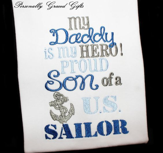 Military Navy USN My Daddy is my Hero Proud Son/Daughter of a US Sailor Embroidered Shirt or Bodysuit with Engineman or Anchor Symbols by PersonallyGraced, $25.00
