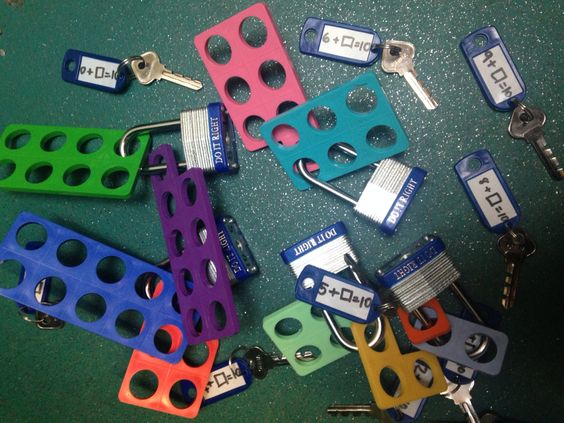 Unlock the Numicon pieces by working out the number bond sum. Practical eyfs mathematics.