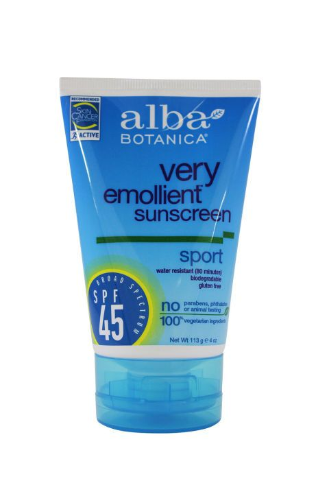 Alba products rock—they're all-natural and feel super light. The brand's sport sunblock is designed with outdoor adventures in mind: It's long-lasting, biodegradable, and it's not tested on animals.  Alba Very Emollient Sunscreen Sport SPF 45, $11; vitaminshoppe.com.: