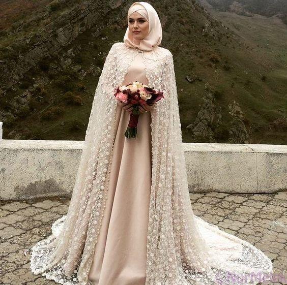 Pelerinli Tesettur Abiye Modelleri Gelinlik Gelinler Elbise