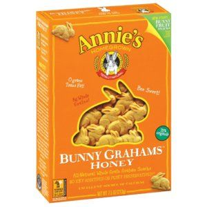Annie's honey-flavored bunny grahams are free of soy.  These are available at Walmart and most health-food stores.