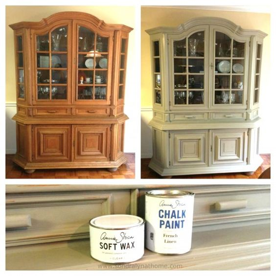 China Cabinet Chalk Paint Makeover B&A- Sondra Lyn at Home