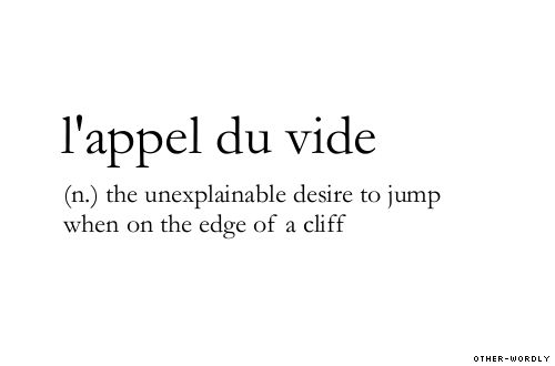 (n.) the unexplainable desire to jump when on the edge of a cliff