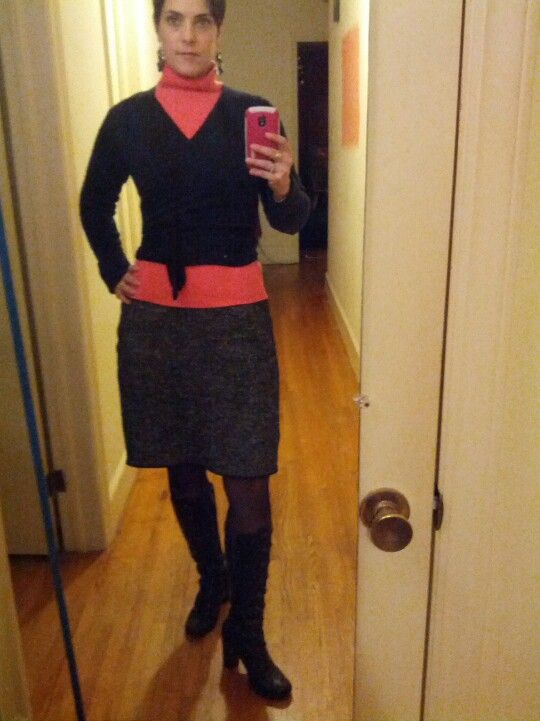 Tweed dress (thrifted), coral turtleneck (VS from a few years ago), black ballet wrap sweater (thrifted some years ago), Frye button boots.