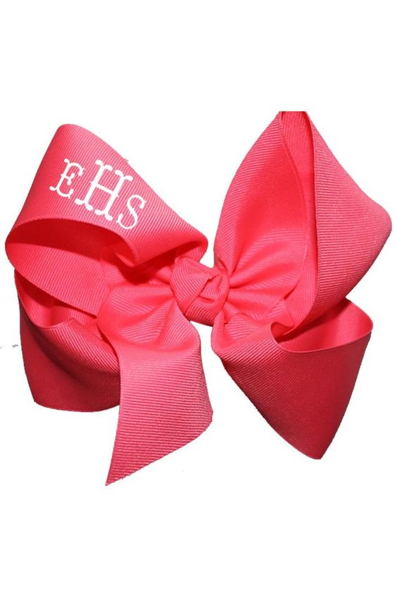"""This personalized medium neon pink hair bow is made of 2.25"""" grosgrain ribbon to give you a full effect. It is a popular gift among young tweens and teens and even high school kids! Turnaround time is 3 business days plus shipping time. For customization please email Stylist@shoptiques.com with your choice of heat press color, monogram style and monogram initials. All custom items are final sale.     Measures: 6.5"""" across   Personalized Neon-Pink Bow by Party Cat. Accessories Austin, Texas"""
