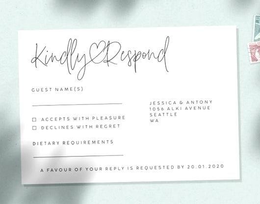 Wedding Rsvp Card Wedding Response Card Reply Card Wedding Menu Choice Cards Rsvp Card Modern G In 2020 Wedding Response Cards Rsvp Wedding Cards Reply Cards