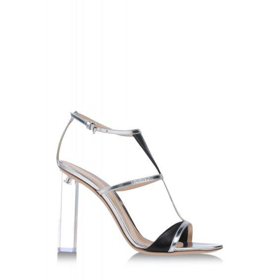 Gianvito Rossi Silver & Black Leather Sandal - Lucite Block Heel Sandal