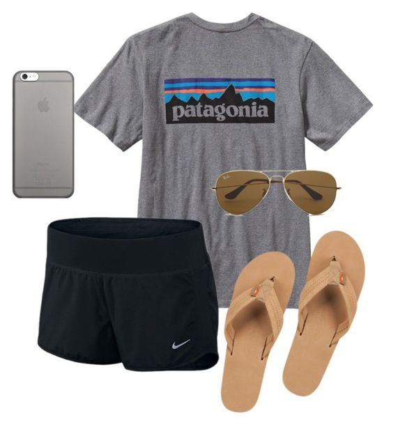"""lunch date"" by cheymichfain on Polyvore featuring Patagonia, Rainbow, NIKE, Ray-Ban and Native Union"
