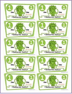 Beethoven bucks printable music student incentive packet for Classroom bucks template