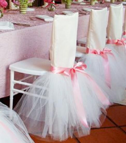 2019 2017 Link For Ivory Tulle With Pink Ribbon Chair Covers Chair