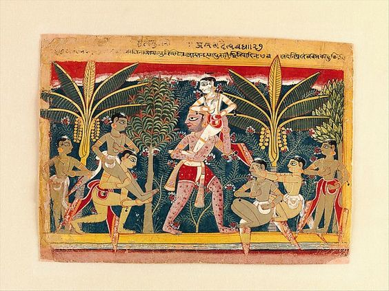 """Blindman's Bluff: The Demon Pralambha Carries Balarama on His Shoulder. Illustrated folio from the dispersed """"Isarda""""Bhagavata Purana (The Ancient Story of God). North India, probably Delhi-Agra region, ca. 1560–65. Opaque watercolor on paper; yellow and pink border with variously colored rules; page 7 5/8 x 10 3/8 in. (19.4 x 26.4 cm). Promised Gift of the Kronos Collections, 2015 (SK.003). © The Metropolitan Museum of Art."""