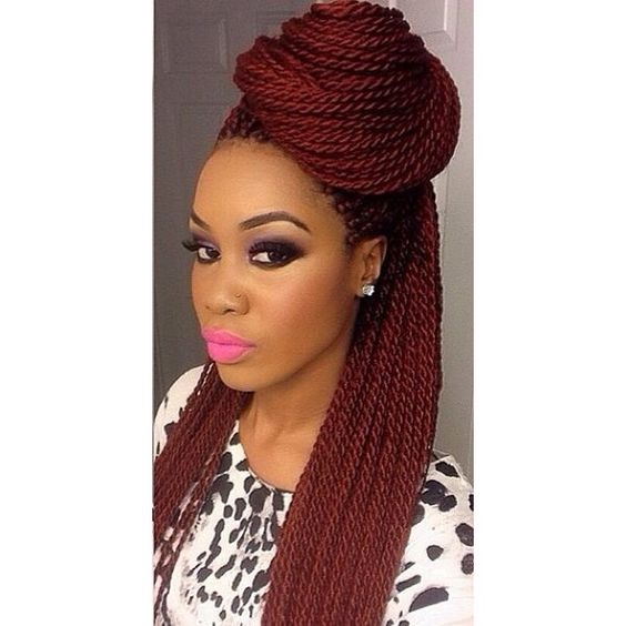 5 Charming Braided Hairstyles with Small Box for Black Women ❤ liked on Polyvore