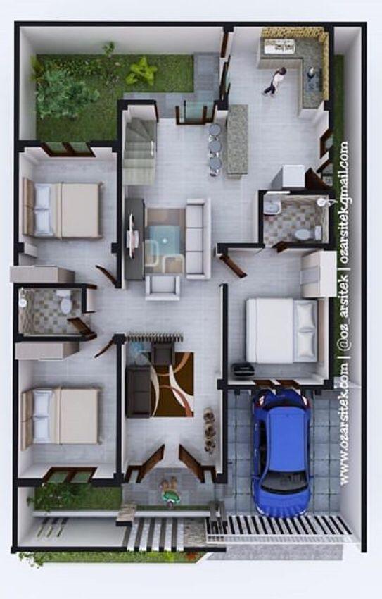 3 Bedroom House Floor Plan Minimal House Design Small House Design Minimalis House Design