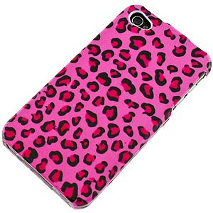 Hot Pink Leopard Print Protector Case for iPhone 4 & 4S (Type V) IPHONE4HPCIM715NP