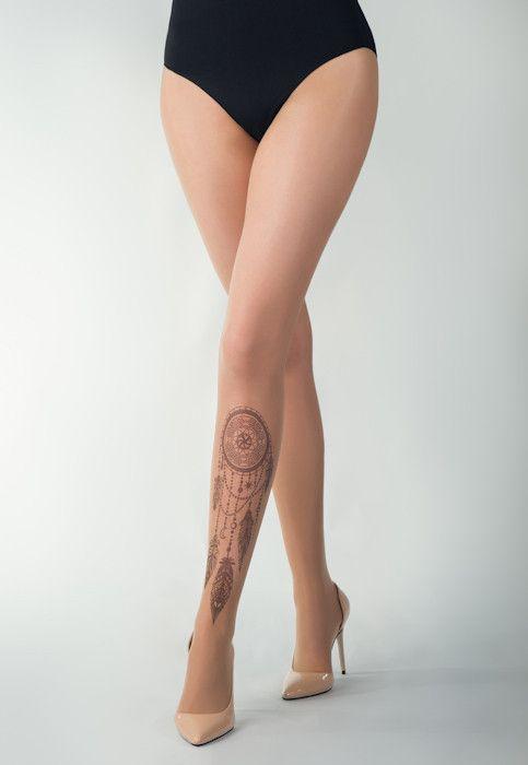 Black Dreamcatcher Tattoo Sheer Tights