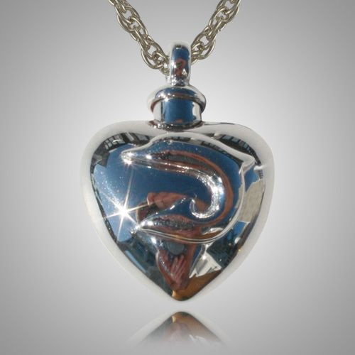 the large dolphin heart cremation jewelry is sterling. Black Bedroom Furniture Sets. Home Design Ideas