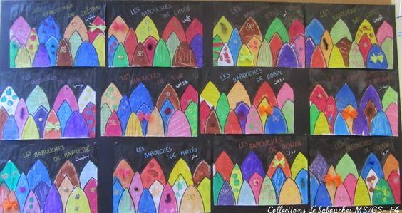 Collection de babouches MS-GS: décoration des babouches à la craie grasse, encre, gouache dans différentes techniques