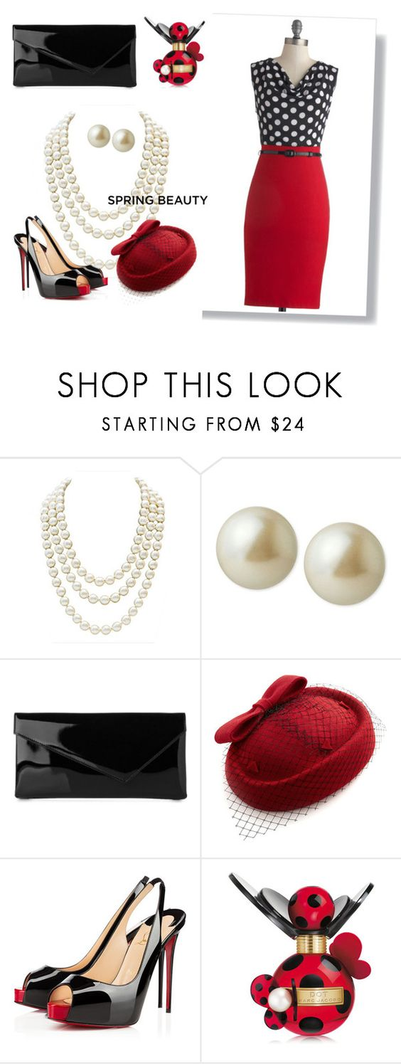 """""""A Dot of Great Price"""" by chilipeppergirl on Polyvore featuring Chanel, Carolee, L.K.Bennett, Christian Louboutin and Marc Jacobs"""