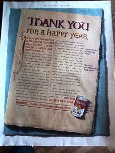 1937 CAMPBELL'S TOMATO SOUP for Happy Year Ad