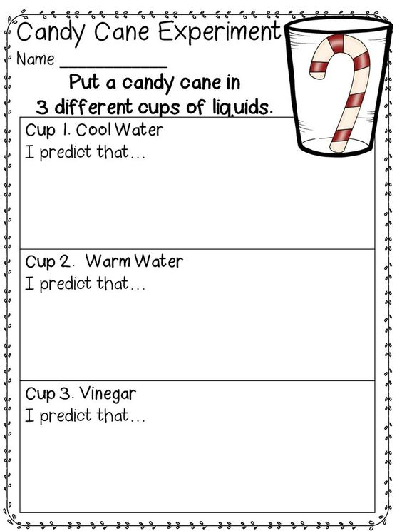 Candy Cane Experiment (free; from First Grade Wow) | TpT FREE ...