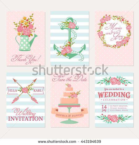 düğün davetiyeleri ayarlayın.  Pembe, mavi ve beyaz renklerde şık afiş…