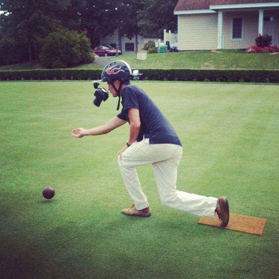 """Lawn bowling with a camera rig"" by @Cate Honzl"